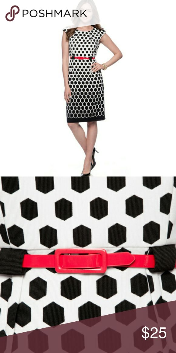 🔮BOGO NWT Slimming Black White Red Hexagon Dress 🔮Everything in my closet is temporarily BOGO HALF OFF! See closet sale listing for rules.🔮   This dress is brand new with tags! It's black & white with a red skinny belt. The dress is very stretchy which makes it very slimming! You can definitely show off your curves in this one! It's a 10 with a generous fit; meaning, it's not a small 10. I'm a 10-12, & it fits. If you'd like a pic of the actual dress, just ask. It's brand new and…