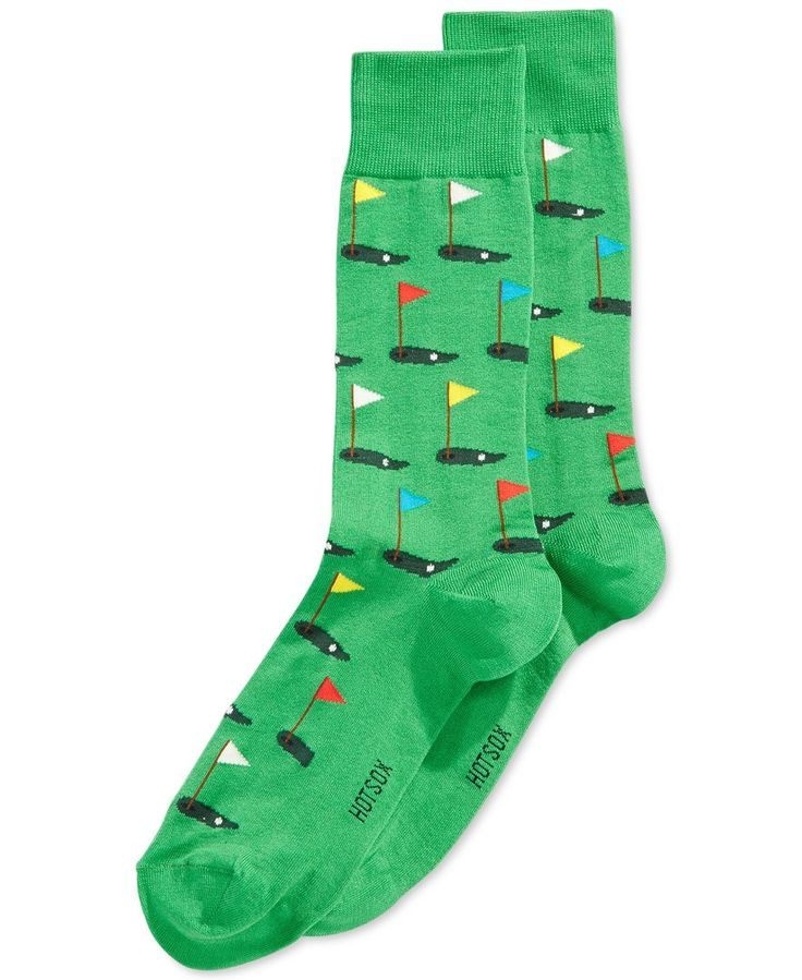 The perfect socks for the golf lover; score one for Hot Sox. | Cotton/polyester/nylon/spandex | Machine washable | Imported | Allover golf print | Fits shoe size 6 - 12 1/2 | Web ID:1536620