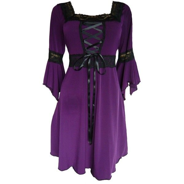 Dare to Wear Women's Plus Size Victorian Gothic Renaissance Corset... ($50) ❤ liked on Polyvore featuring dresses, tops, vestidos, corset, short dresses, mini dress, plus size corset dress, purple dress, plus size mini dress and victorian corset