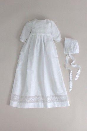 Dåbskjole med dåbskyse, lange ærmer fra i hvid hør-bomuld blanding: CD64 Oli Prik Dåbstøj