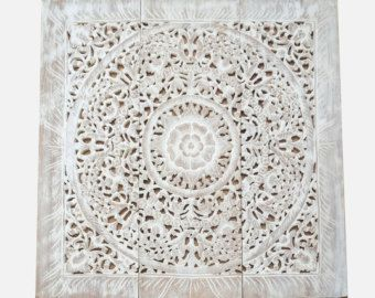 White Wash Wall Art Panelling. Carved Wood Panel. Asian Home Decorating. Lotus Wood Wall Hanging From Thailand. (3'X3' Ft. White Wash)
