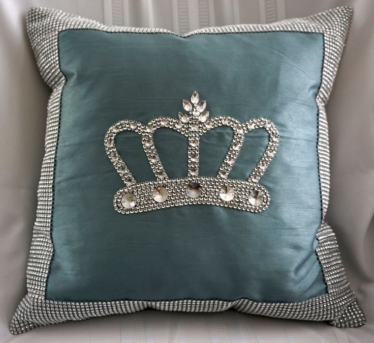 crown pillow with large rhinestone crown | crown ...
