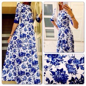 2014 venta caliente top vestido largo con la media manga 3d impresión vestidos de moda europeo popular ropa de noche