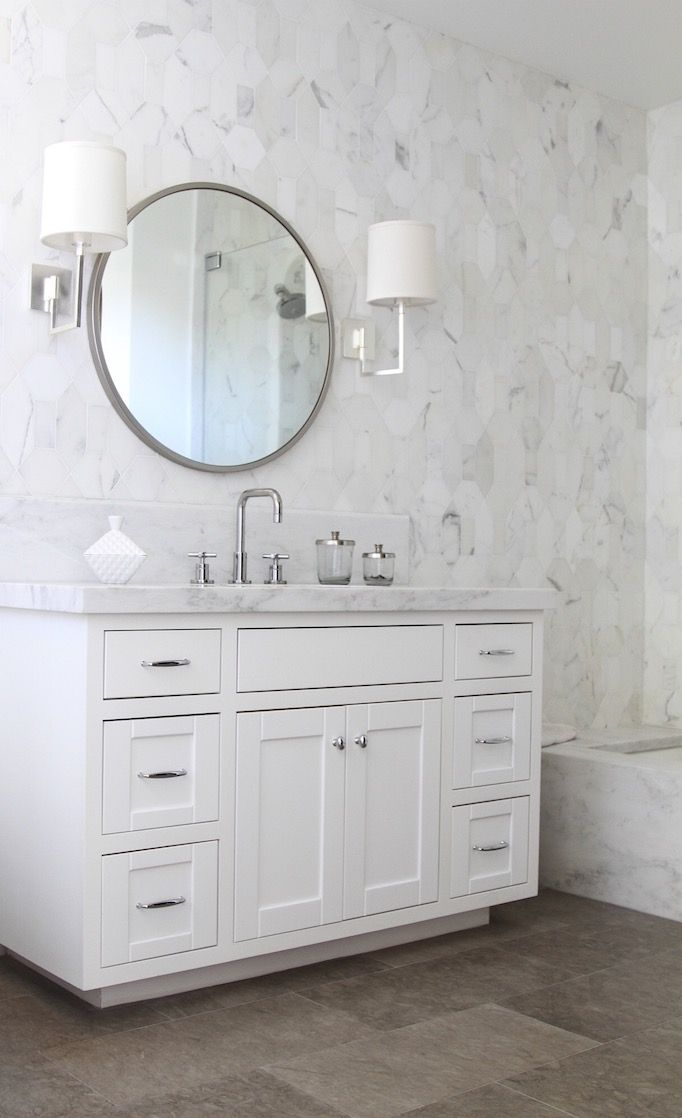 Metal round mirror becki owens bathroom pinterest - Round mirror over bathroom vanity ...