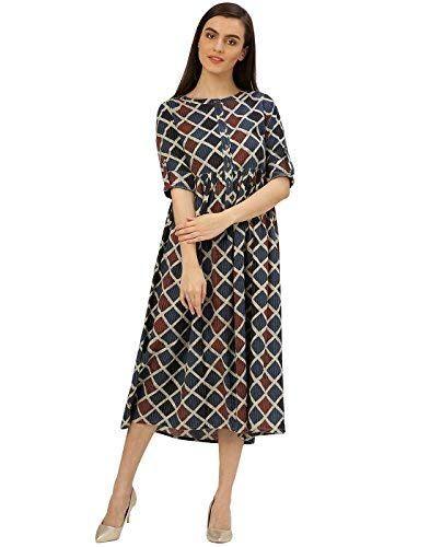 62edc19b9c1a Royal Export Women s A-Line Knee-Long Dress (Black Auto XXL Black XXL)   Amazon.in  Clothing   Accessories