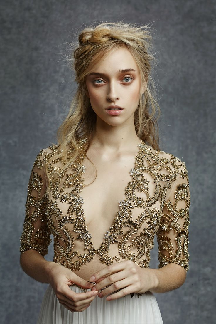 Reem Acra Pre-Fall 2015 | gold/white embellished gown