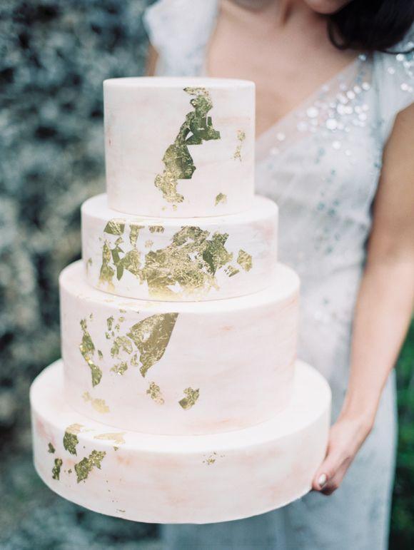Gold-leaf wedding cake #goldleaf #cake