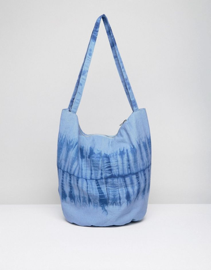 ASOS BEACH Tie Dye Canvas Shopper Bag - Blue
