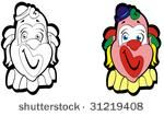 Cartoon illustration of a circus clown head in black and white and color ideal foe digital stamp or decal