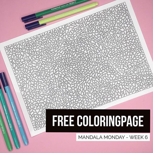 ║F R E E 🌸 C O L O R I N G P A G E║  It's time for another MANDALA MONDAY - even though it's not a mandala this week. Every monday I share a free printable coloringpage (for personal use only). Link in bio. I would love to see what you do with my drawings, whether it is adding color, details or something else. Be creative! ✨