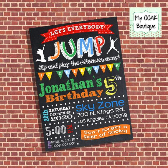 Trampoline Birthday Party invitation jump invite by myooakboutique