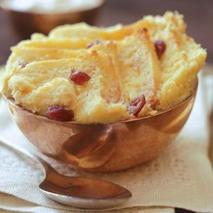 White chocolate and cranberry bread and butter pudding
