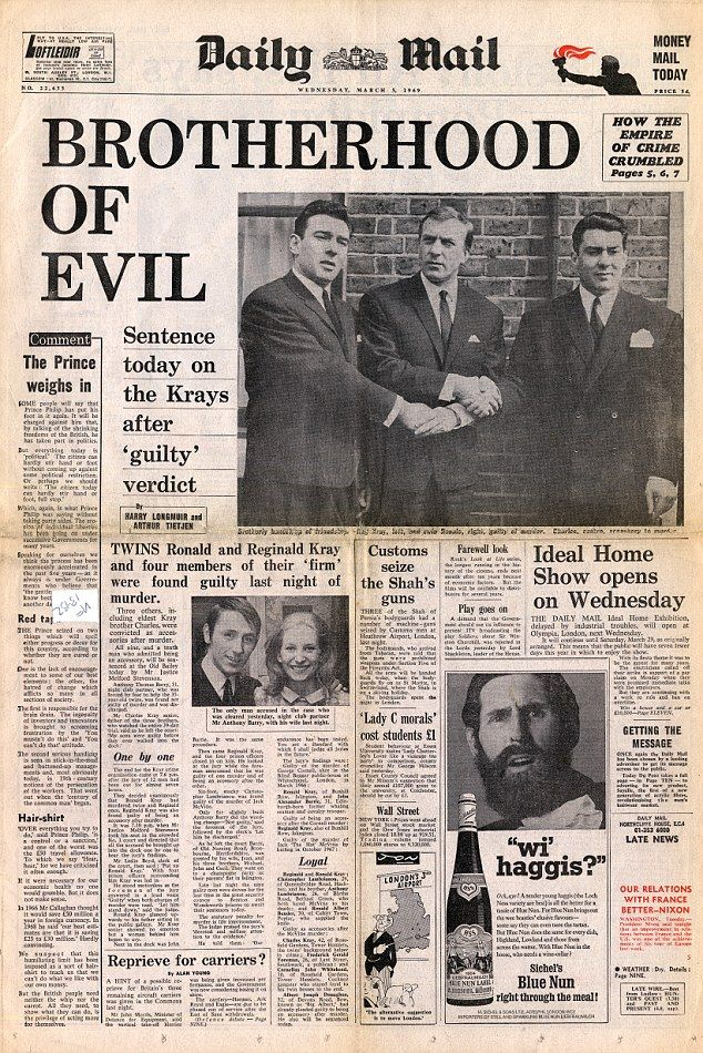 Brotherhood of Evil. Daily Mail headline Wednesday 5th March 1969.