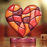 Wood sculpture - Heart of Love - NOVICA