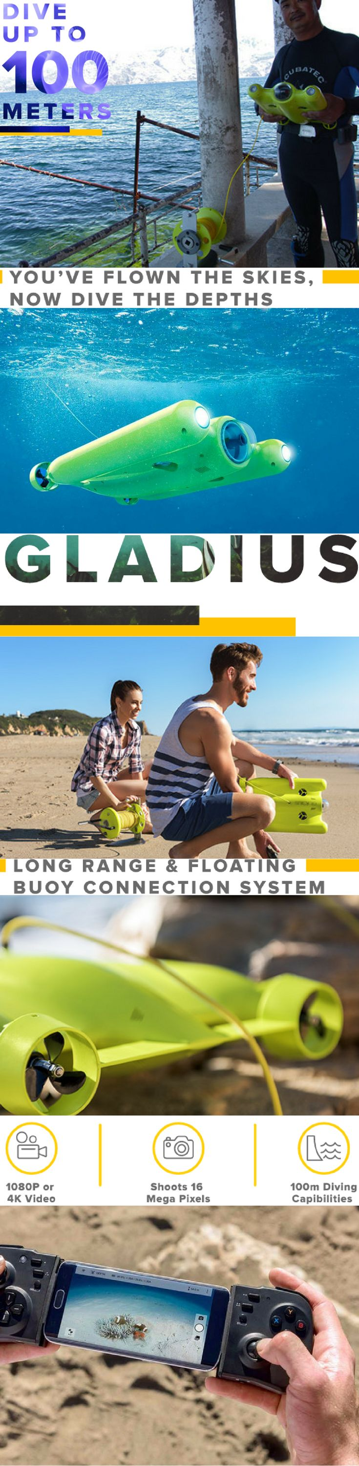 Gladius is a smart underwater drone built for filming, observing & exploring up to 100m (328ft) deep with 3 hour runtime. The ultra HD 1080P/4K camera uses low light adaptable sensors & image quality optimization algorithms for stunning in-water photos & videos. Gladius is controlled through a smartphone remote control & omni directional quad thruster system. Whether you're a scuba diver, underwater photographer, oceanographer or just want to have fun, Gladius is intelligently designed for…