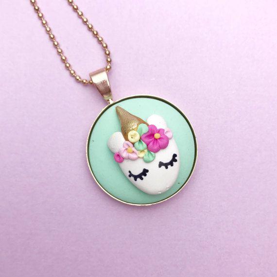 Unicornio cara collar joyas de arcilla de polímero hecho a