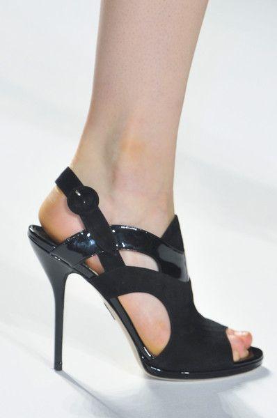Bibhu Mohapatra Black Patent & Suede Sandal Spring Summer 2014 #Shoes #Heels