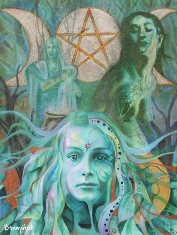 """The triple goddess"" or mother, maiden and crone which also pertains to the three phases of the moon in pagan mythology. Painted by visionary artist, Bonny Hut."