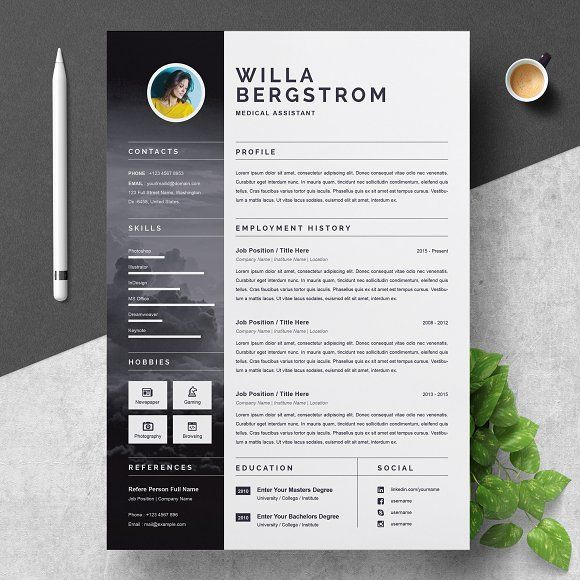 Resume Template For Medical By Resumeinventor On Creativemarket 3