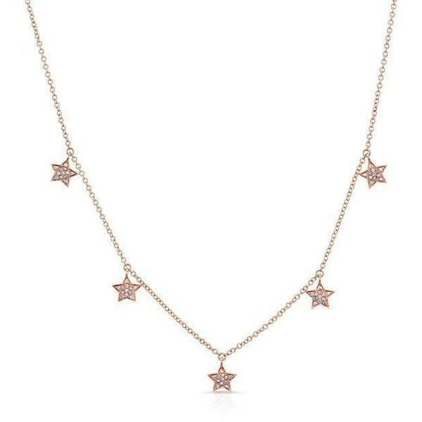 14kt rose gold diamond stars necklace (2545 QAR) ❤ liked on Polyvore featuring jewelry, necklaces, charm chain necklace, rose gold necklace, rose gold charm necklace, clasp charms and layered chain necklace