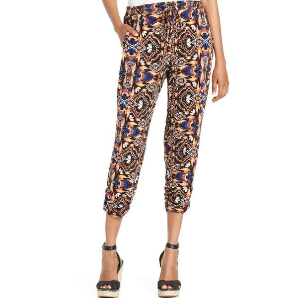 Ny Collection Petite Cropped Printed Drawstring Pants ($19) ❤ liked on Polyvore featuring pants, capris, cafe africa, petite white pants, petite crop pants, tribal print pants, drawstring pants and tribal pants