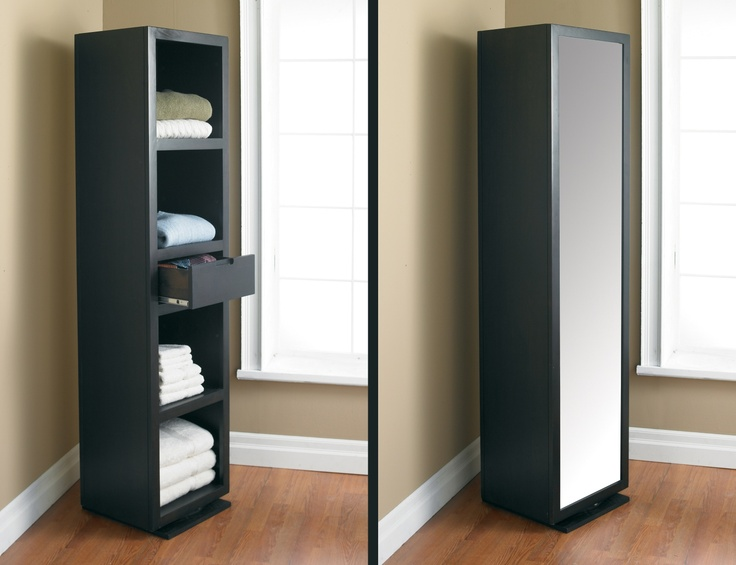 Full dressing mirror on one side and on the other, four shelves and a drawer for storage. Revolving base. Made of solid wood and veneer in a rich espresso finish.