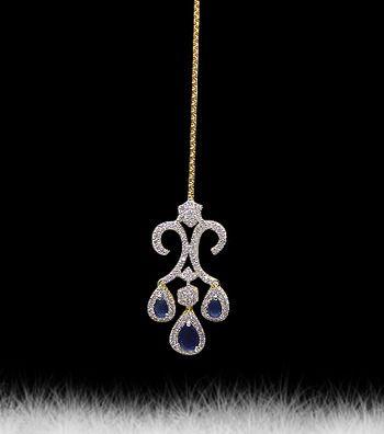 Multicolor american diamonds maang-tikka