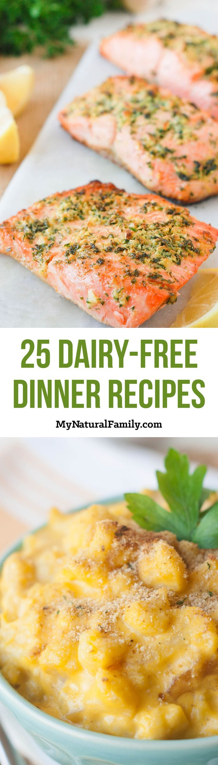 50 Dairy-Free Dinner Recipes - I want to try all of these! I love how there is a photo for each recipe and a link to click to get the recipe.                                                                                                                                                                                 More