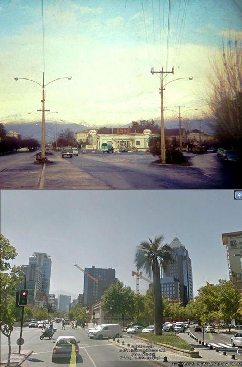 Comparación de la vista de las calles Isidora Goyenechea con El Bosque, comuna de Las Condes. Arriba año 1965, abajo año 2014.