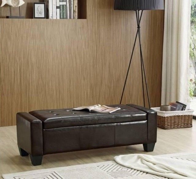 Ottoman Storage Bench Stool Bed End Bedroom Blanket Box Chest Pu