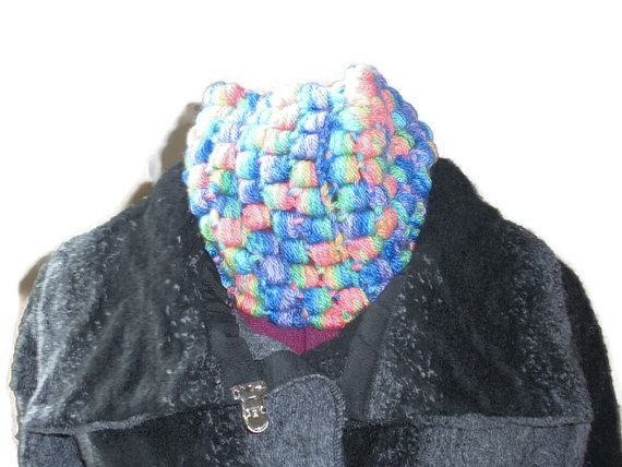 Handmade Crochet Cowl in Hand Dyed Bluefaced Leicester Yarn - Luxury Accessory  - Lightweight and Warm