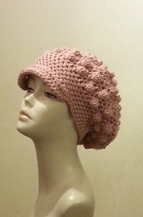 Crocheted Beret Hat  Slouch Hat   Bobble Hat ♡ by jazzicrafts