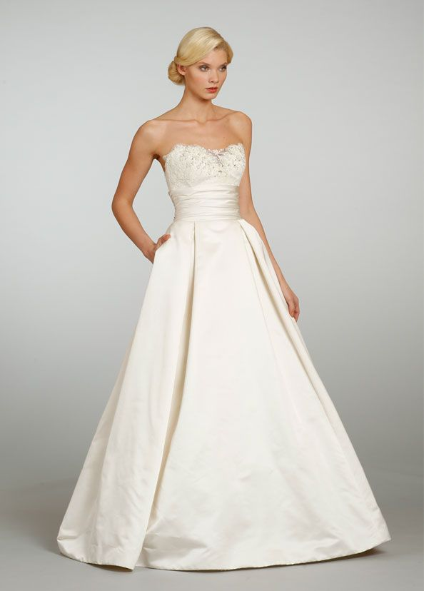 38 best satin taffeta dupioni wedding dresses with lace for Satin silk wedding dresses