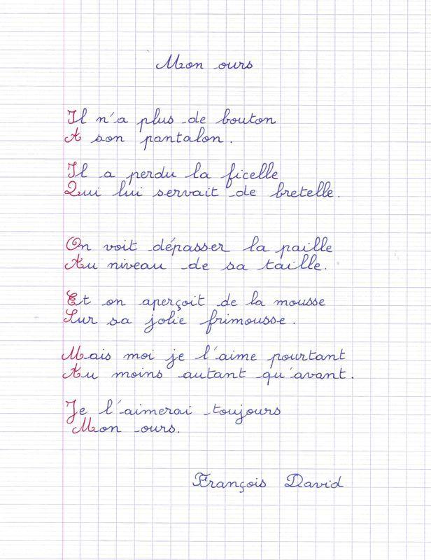 poème de François David : mon ours