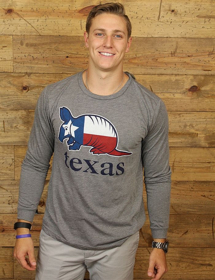 Celebrate Texas pride with this Texas Flag armadillo long-sleeve tee It doesnt get much better than thisBarefoot logo approximately 3x3 and in between the shoulder blades may be featured on the back of the shirt.