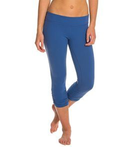 Beyond Yoga Essential Gathered Yoga Capris - Twilight Blue - L