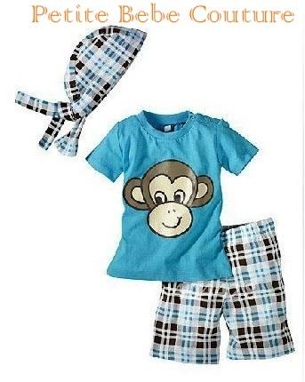 PbC- Boys Cheeky Monkey 3 piece Set.     www.petitebebecouturepage.aradium.com
