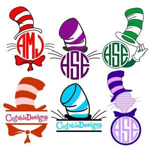 Cat in the Dr. Seuss Stripe Hat Monogram Round Circle Frame Cuttable Design Cut File. Vector, Clipart, Digital Scrapbooking Download, Available in JPEG, PDF, EPS, DXF and SVG. Works with Cricut, Design Space, Sure Cuts A Lot, Make the Cut!, Inkscape, CorelDraw, Adobe Illustrator, Silhouette Cameo, Brother ScanNCut and other compatible software.
