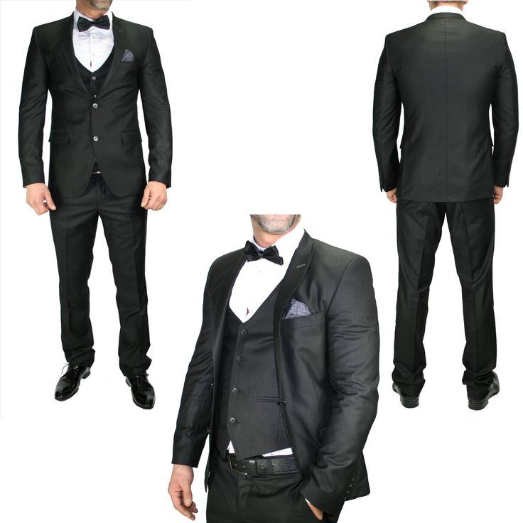 Heren Glimmend Zwart Pak