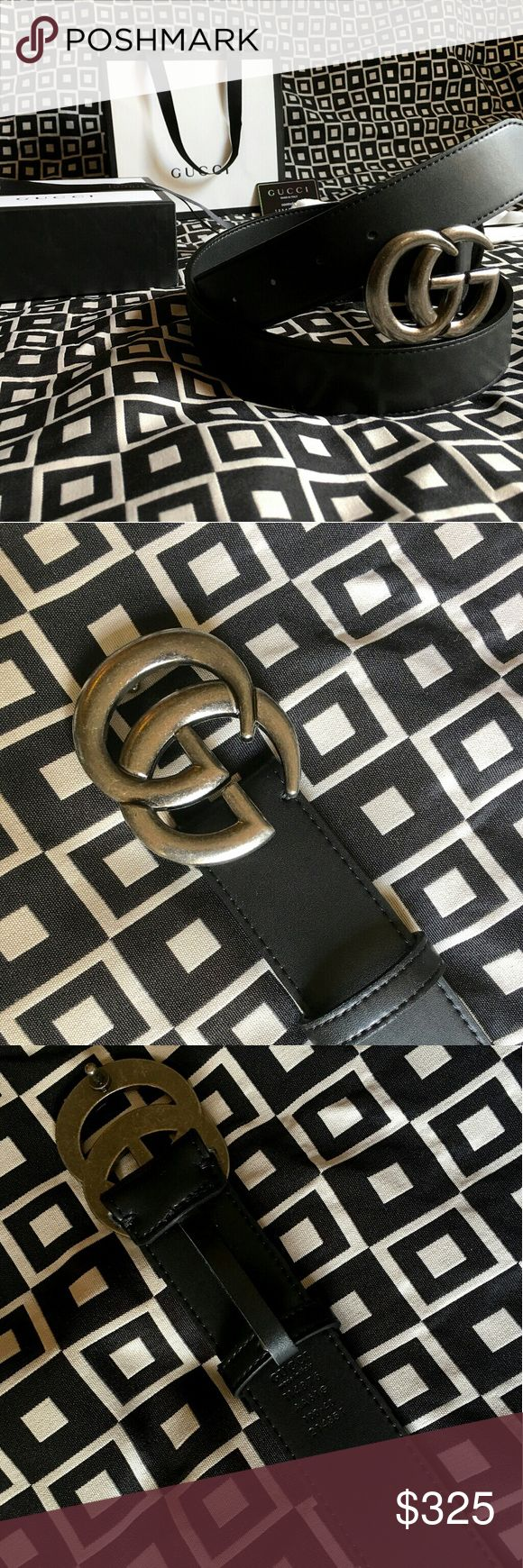 """Gucci GG Belt!!! Gucci GG Belt W/ Antique Silver Double G Buckle!!!  Brand New!!!  Size Available - 32"""", 34"""", 36"""", 38"""", 40"""", 42"""", 44""""!!!  Includes Gucci Belt, Gift Box, Dust Bag, Ribbon, Etc!!!  Great Gift Idea!!!  Last Available!!!  Check My Listings For Other Great Items!!!             Ignore: Gucci gg monogram casual dress belts men's women's guccissma leather monogram web tiger bee embossed panther wool cable knit blooms supreme print angry cat ufo dragon studded snake double g Gucci…"""