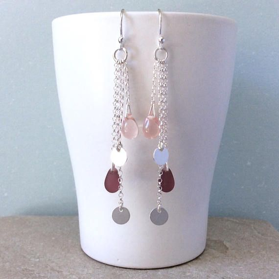 Long silver chain earrings boho earrings pink earrings
