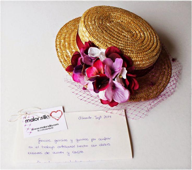 Malonsilla Artesanía - Canotier Luanco - Flores Hortensia - Boda - Invitada - Comprar - Económico - Tocados