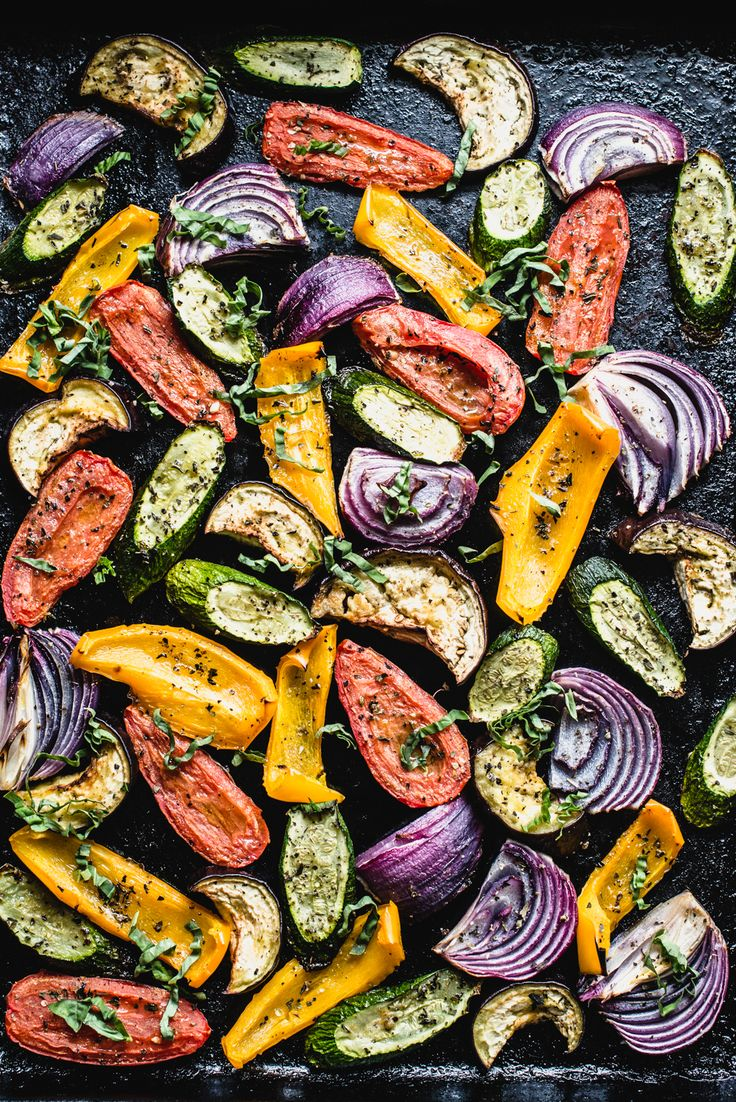 Super easy and flavorful Roasted Mediterranean Veggies will perk up your dinner plate in no time flat. Tomatoes, zucchini, eggplant
