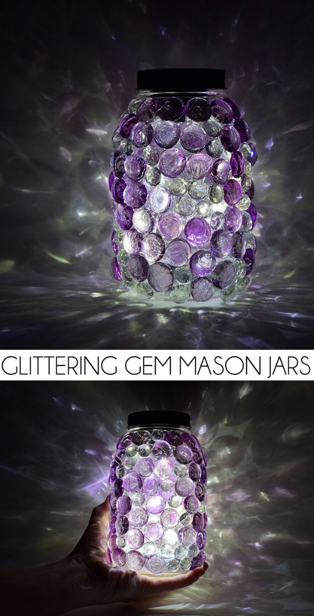 Mason Jar Crafts You Can Make In Under an Hour - Glittering Gem Mason Jars - Quick Mason Jar DIY Projects that Make Cool Home Decor and Awesome DIY Gifts - Best Creative Ideas for Mason Jars with Step By Step Tutorials and Instructions - For Teens, For Home, For Gifts, For Kids, For Summer, For Fall http://diyjoy.com/quick-mason-jar-crafts