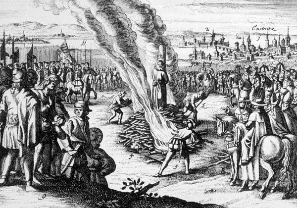 The execusion of Jan Hus, condemned to be burned as a heretic by the Council of Constance, 1415