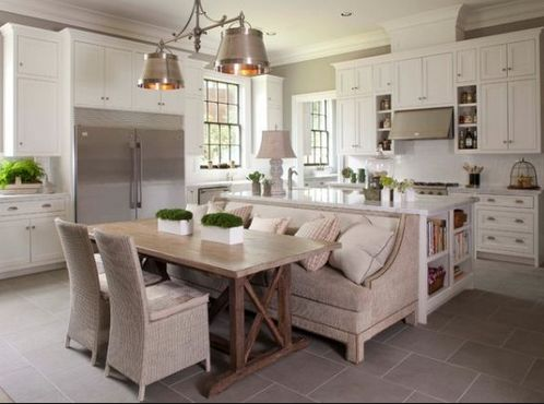 Banquette Seating Next To Island Interior Design Kitchen