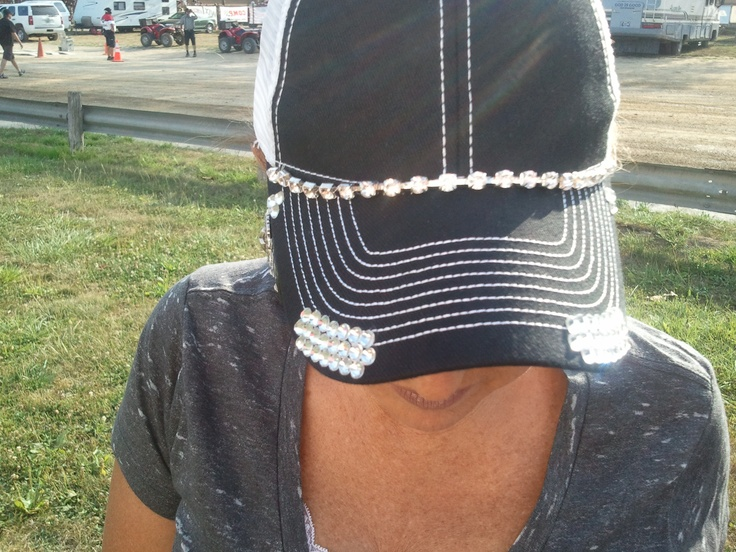 My girlfriends hat she bought in CA and brought back to IN.  So making me a bling trucker hat!  (Thanks KL for letting take a snapshot)