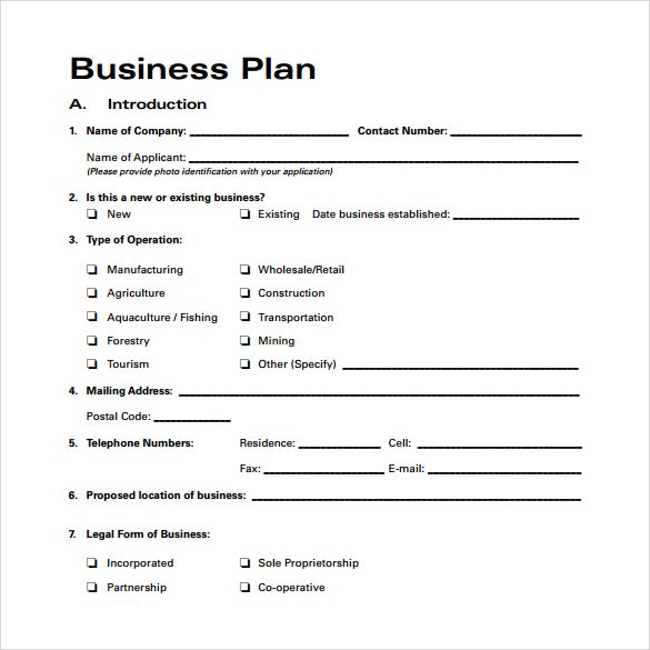 Template for a business plan accmission