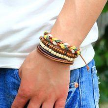 4 stks/set Handgemaakte DIY Gesp Hout Kralen Weave Kralen Lederen Armband Mannen bijoux pulseras Punk Sieraden Mannen Accessoire Gift(China (Mainland))
