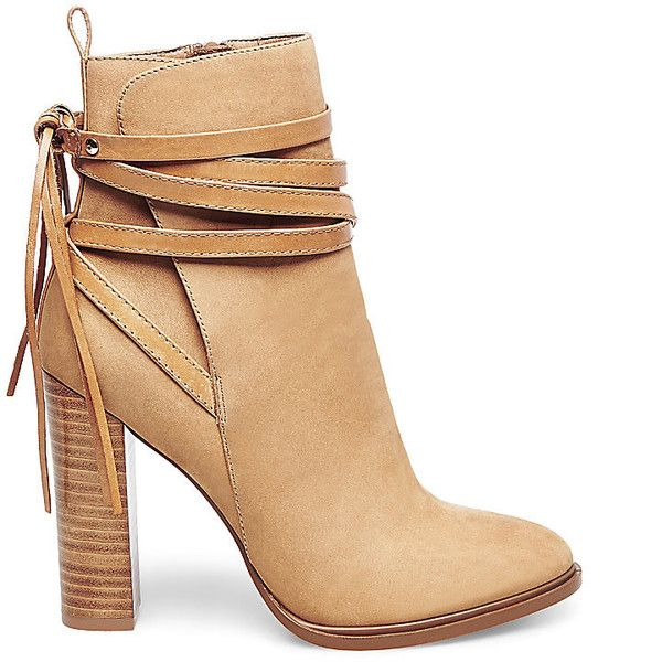 Steve Madden Women's Gaybel Booties ($150) ❤ liked on Polyvore featuring shoes, boots, ankle booties, ankle boots, tan nubuck, short boots, faux-fur boots, steve madden boots, tall high heel boots and tan boots